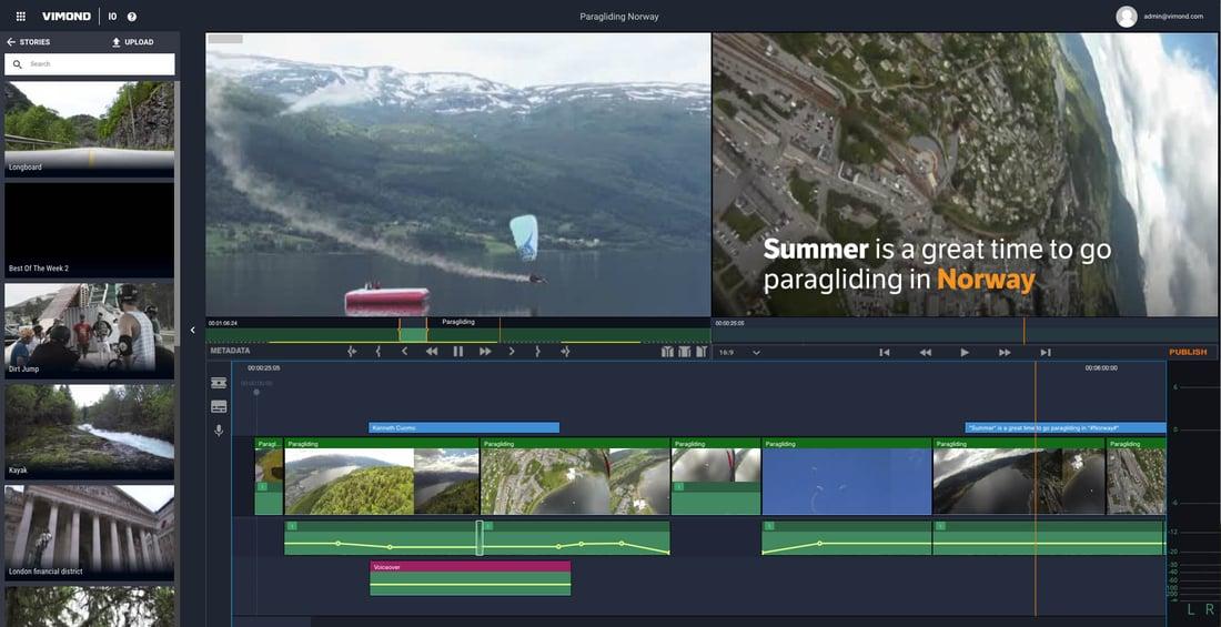 Vimond IO Editing timeline